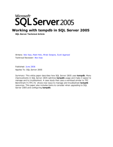 Working with tempdb in SQL Server 2005