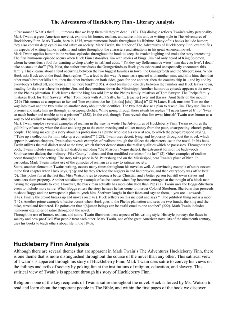 an analysis of the novel the adventures of huckleberry finn by mark twain on the topic of superstiti Adventures of huckleberry finn - topic adventures of huckleberry finn (mark twain) adventures of huckleberry finn book trailer - duration.