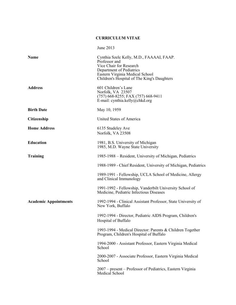 Curriculum Vitae - Children`s Hospital of The King`s Daughters