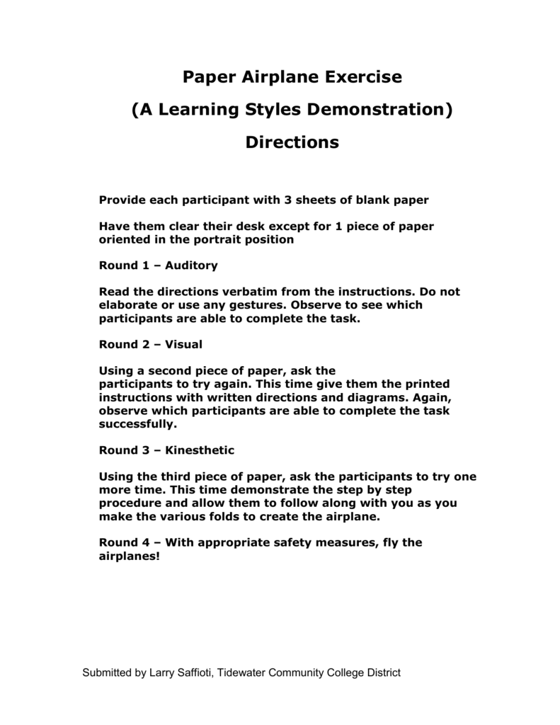 Paper Airplane Learning Style Exercise Diagrams
