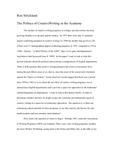 The Politics of Creative Writing in the Academy