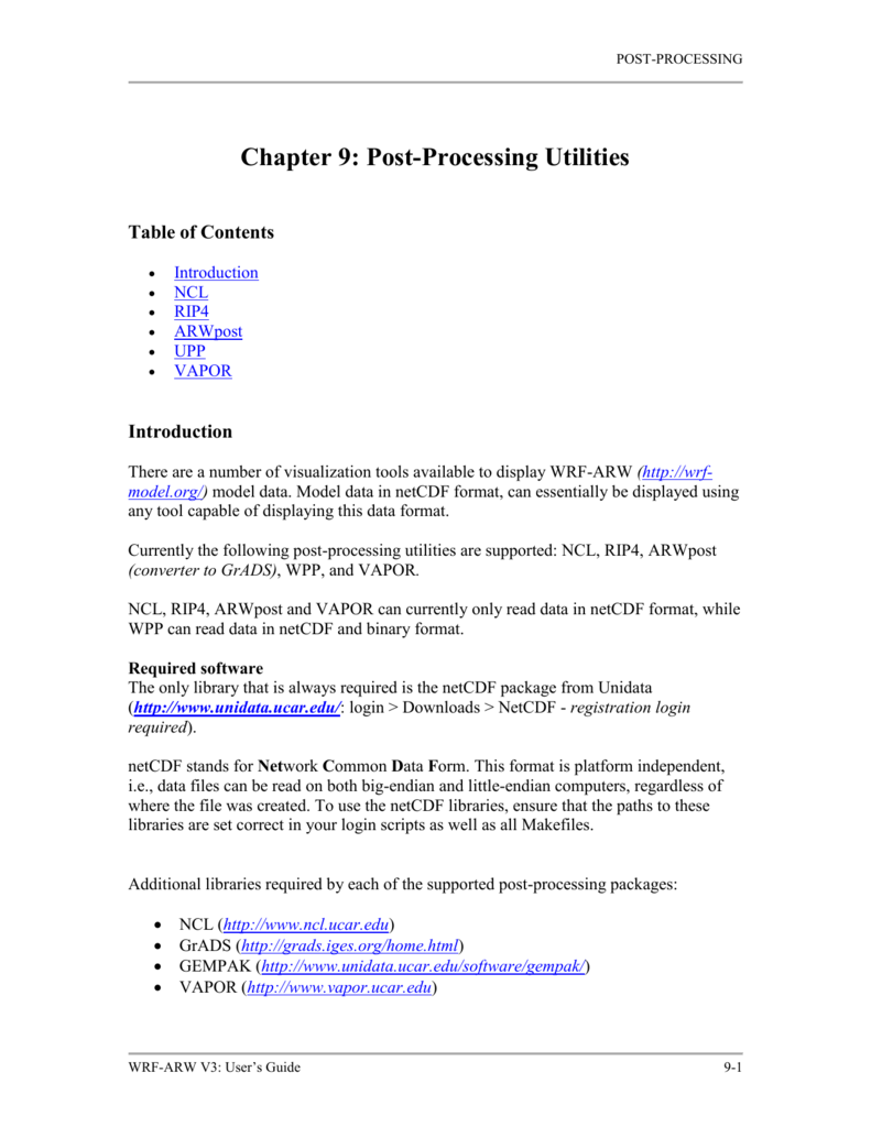 Chapter 9: Post-Processing Utilities
