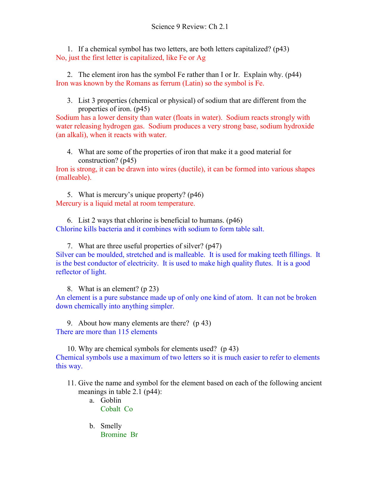 Sci 9 Review Worksheet 21 With Answers