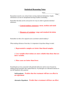 Statistical Reasoning Notes