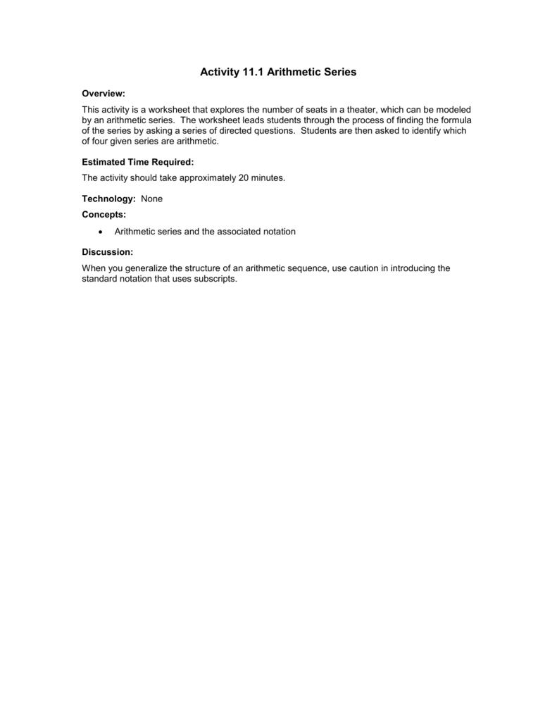 worksheet Arithmetic Series Worksheet 11 1 arithmetic series