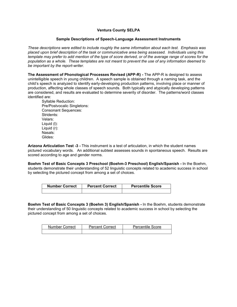 Sample Descriptions of Speech-Language Assessment Instruments