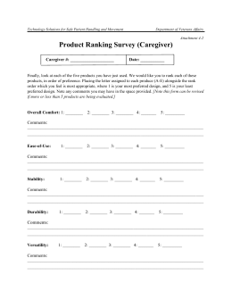 Product Ranking form