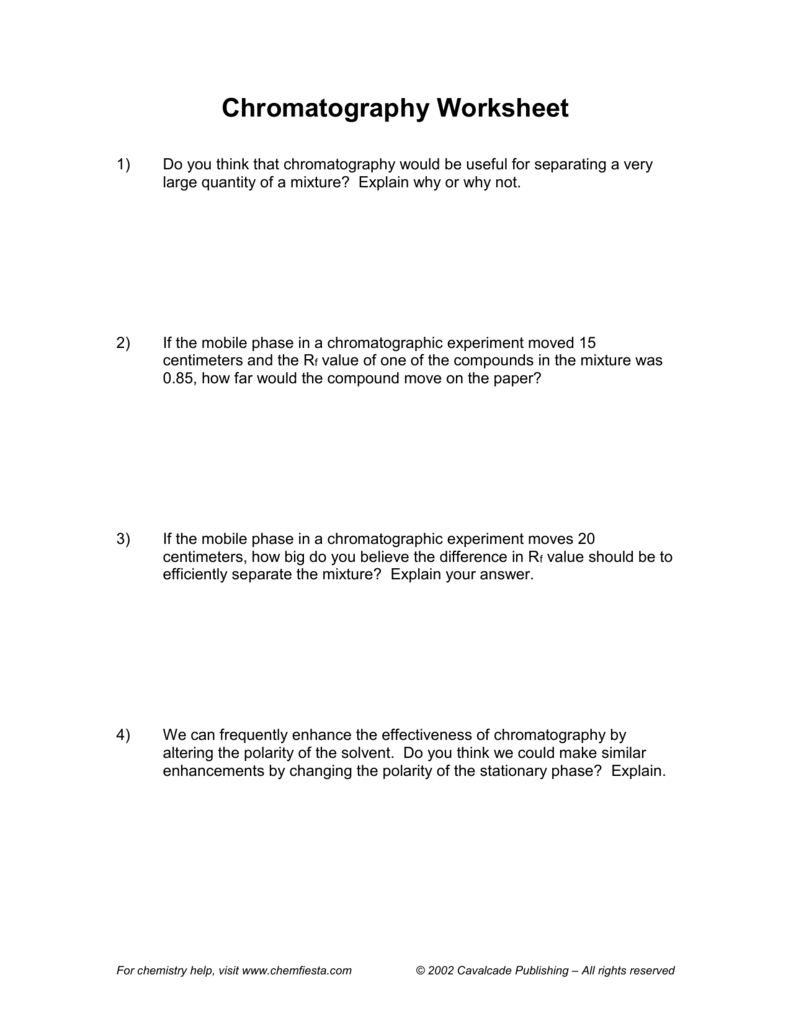 worksheet Separation Of Mixtures Worksheet chromatography worksheet