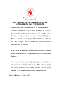 application to licence premises for civil marriages and civil