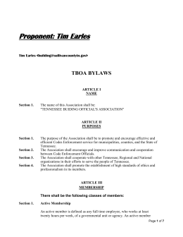 TBOA Bylaws Amendments For 2014 – Earles
