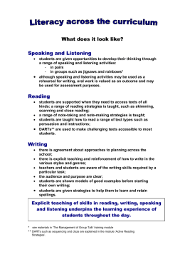 KS3 - What is Literacy Across the Curriculum