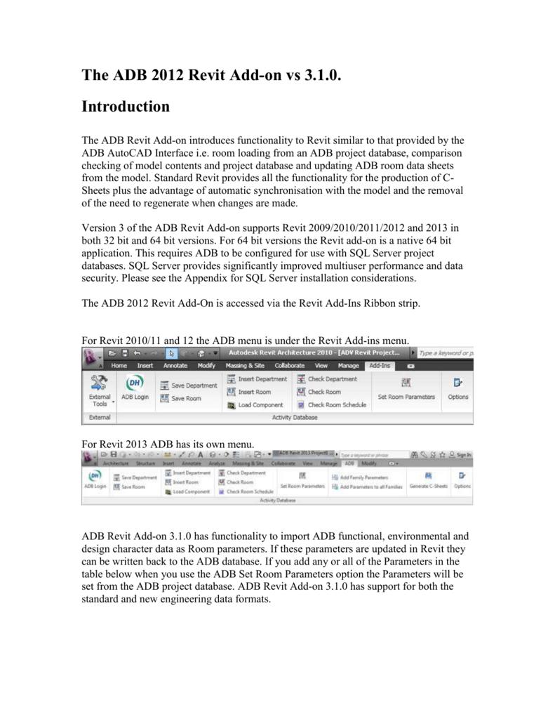 ADB 2012 Revit Add-on version 3 1 0