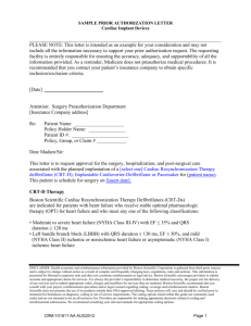 Prior Authorization Letter for Cardiac Devices