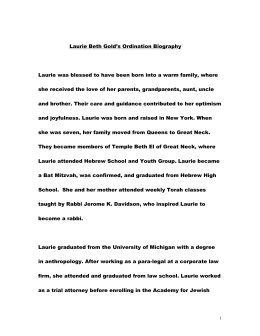 Laurie Beth Gold`s Ordination Biography