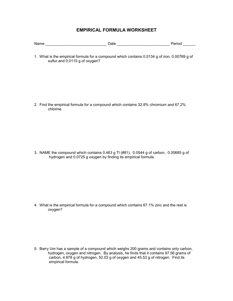 8 Empirical Formula Worksheet