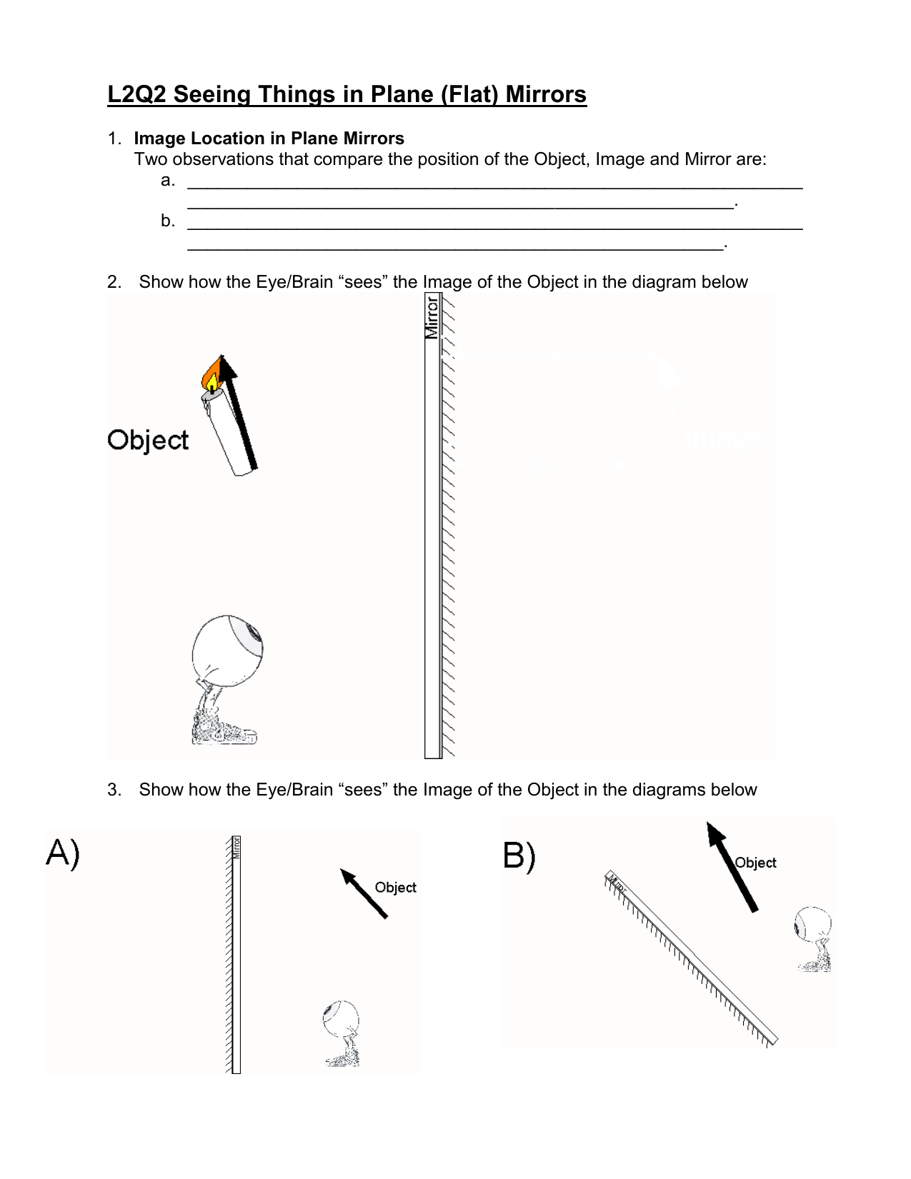 worksheet Ray Diagrams For Plane Mirrors Worksheet seeing things in plane flat mirrors optics lesson 2