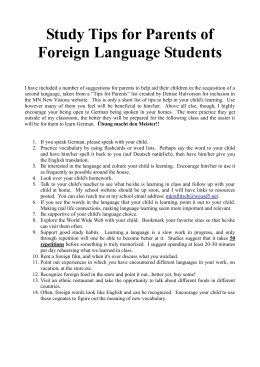 Study Tips for Parents of Foreign Language Students