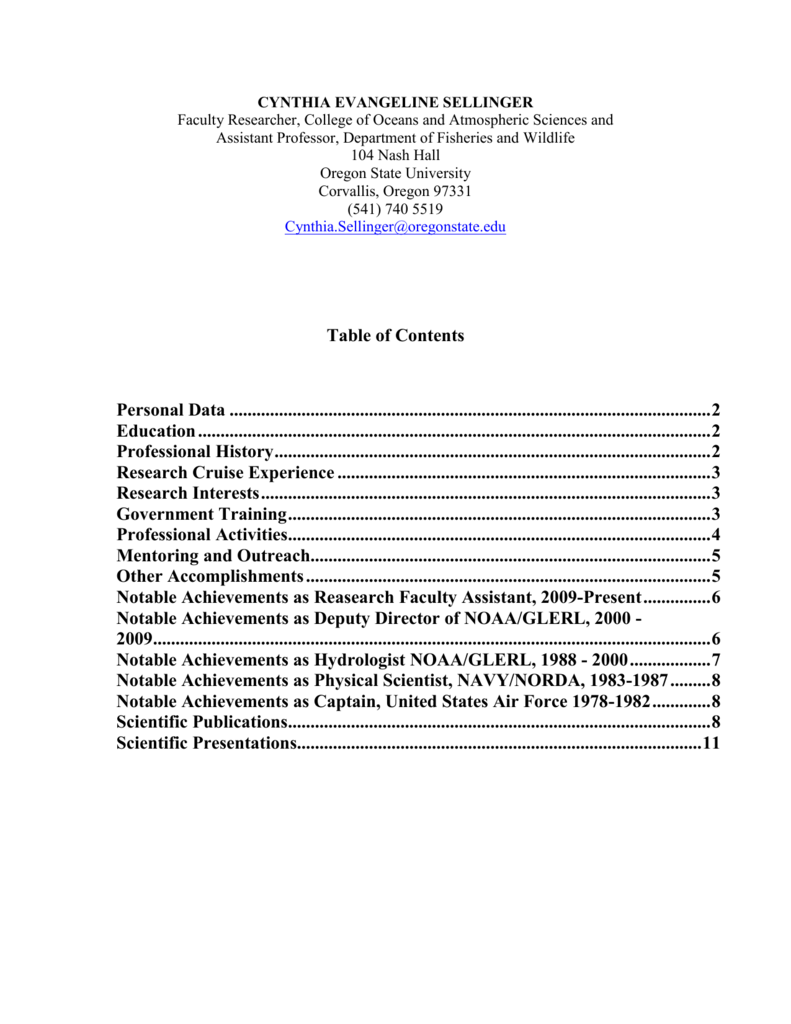 Sellinger Resume 2014 Department Of Fisheries And Wildlife