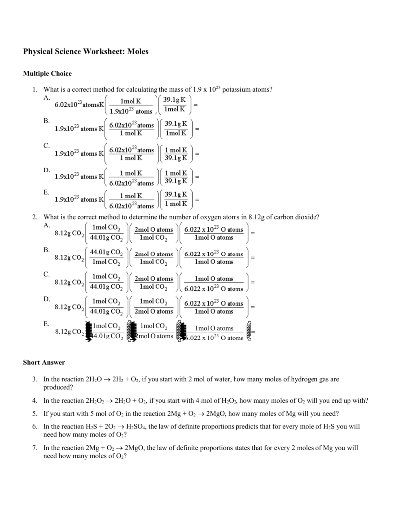 physical science worksheet moles multiple choice 1 what is a. Black Bedroom Furniture Sets. Home Design Ideas