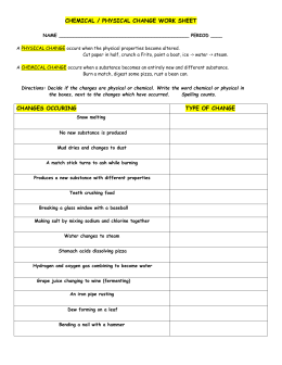 chemical/physical change work sheet