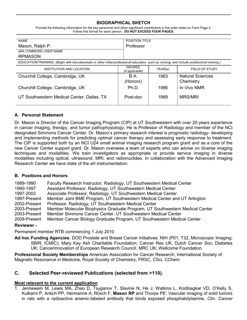 t32 biosketch personal statement