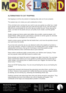 ALTERNATIVES TO CAT TRAPPING Cat trapping is not the only