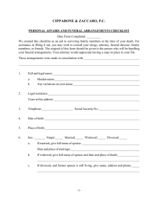 Personal Affairs & Funeral Arrangements Checklist