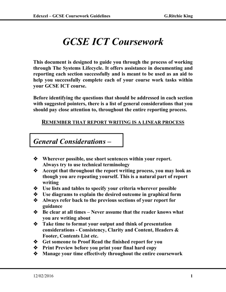 as ict coursework guide