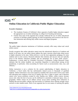 Online Education in California Public Higher Education