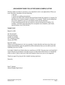 JOB SHADOW THANK YOU LETTER GUIDE & SAMPLE LETTER