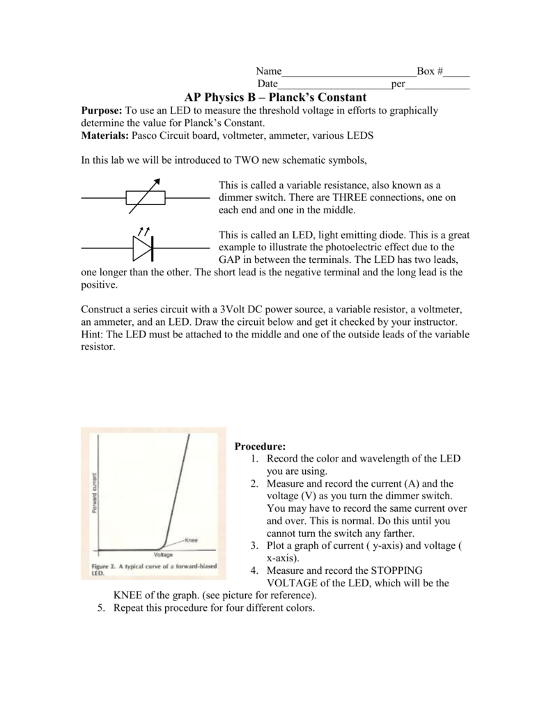 Ap Physics B Planck S Constant Lab Resistor Value For Led Circuits Single Series Connection Parallel