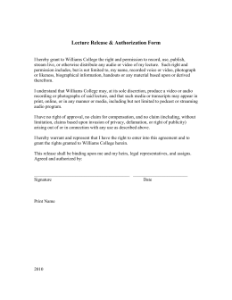 Lecture Release and Authorization Form - Davis Center