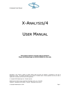 X-Analysis 4 AS400 User Manual 5.3.2.01