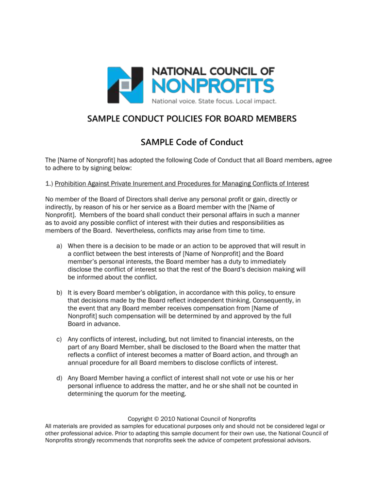 Board Member Agreement - National Council of Nonprofits