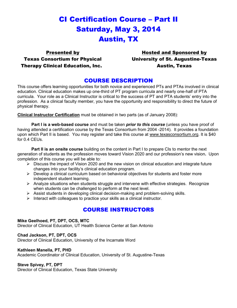 Ci Certification Course Texas Consortium For Physical Therapy