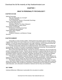 Sample of Test Bank for Perspectives on Personality 7th Edition by