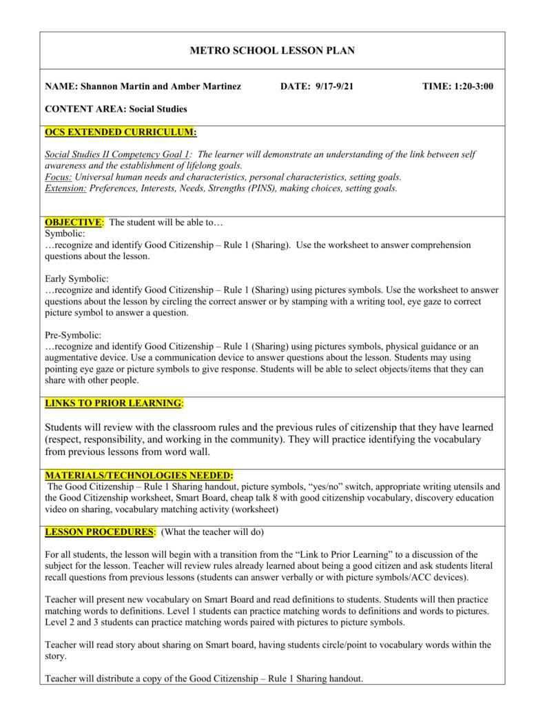 Metro School Lesson Plan