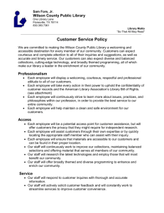 Customer Service Policy - Wilson County Public Libraries
