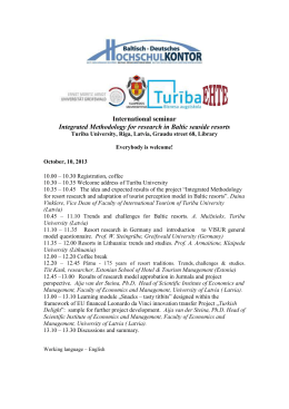 International seminar Integrated Methodology for research in Baltic