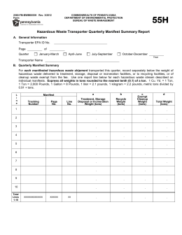 Hazardous Waste Transporter Quarterly Manifest Summary Report