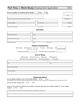 Part-Time or Work-Study Employment Application------------OSU