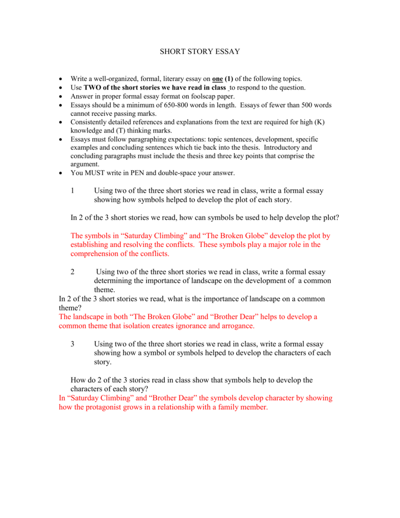 how to start a short story essay