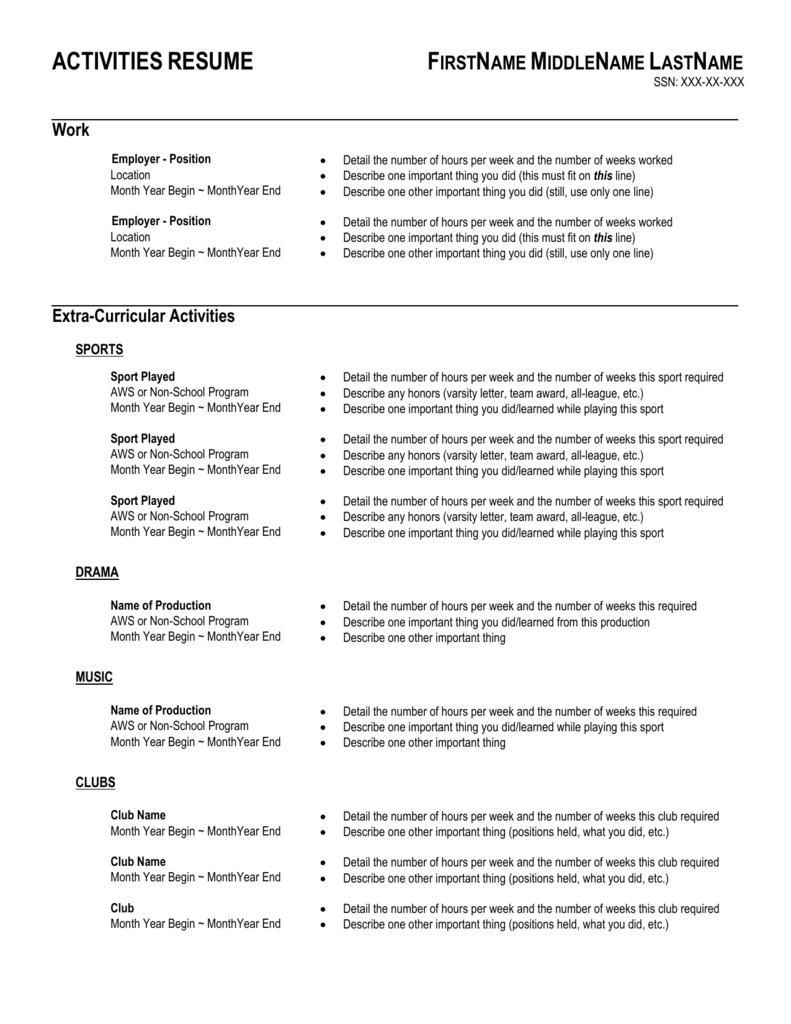 Activities Resume Template