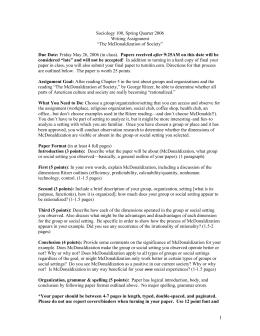 Sociology mcdonaldization essay