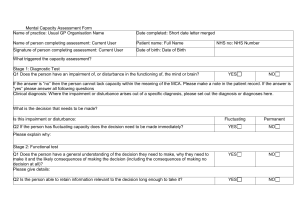Mental capacity assessment form