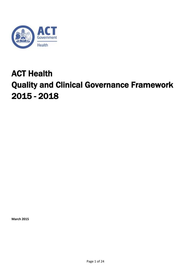 Quality and Clinical Governance Framework 2015