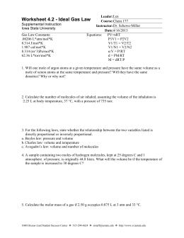 Ideal Gas Law Worksheet Pv Nrt