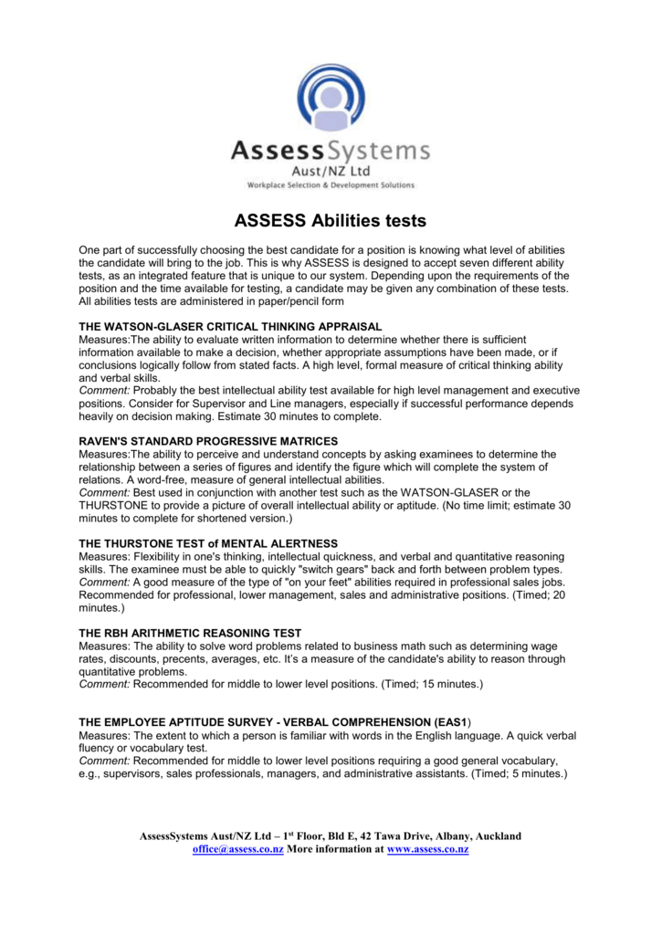 Abilities Tests to use with ASSESS