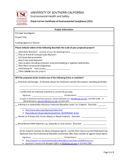 Form to obtain a Certificate of Environmental Compliance