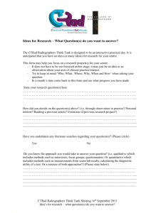 Ideas for Research – What Question(s) do you want to answer